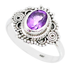 2.31cts natural purple amethyst 925 silver solitaire ring jewelry size 8 r87057