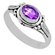 1.57cts natural purple amethyst 925 silver solitaire ring jewelry size 9 r54405