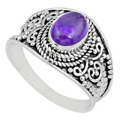 2.17cts natural purple amethyst 925 silver solitaire ring jewelry size 9 r58006