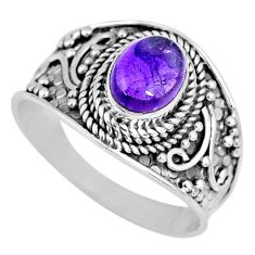 1.96cts natural purple amethyst 925 silver solitaire ring jewelry size 9 r58569