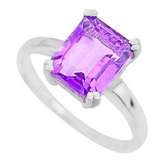 4.18cts natural purple amethyst 925 silver solitaire ring jewelry size 9 r71321