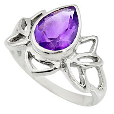 2.79cts natural purple amethyst 925 silver solitaire ring size 6.5 r25328