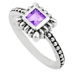 0.58cts natural purple amethyst 925 silver solitaire ring size 5.5 r25441