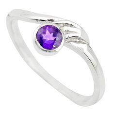 0.65cts natural purple amethyst 925 silver solitaire ring size 6.5 r25562