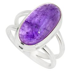 6.26cts natural purple amethyst 925 silver solitaire ring size 7.5 r27285