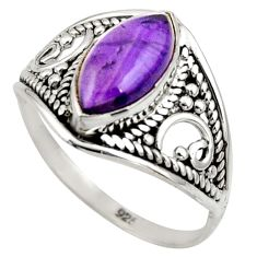 5.20cts natural purple amethyst 925 silver solitaire ring size 8.5 r35303