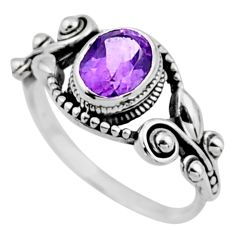2.01cts natural purple amethyst 925 silver solitaire ring size 7.5 r54521
