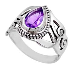 2.35cts natural purple amethyst 925 silver solitaire ring size 7.5 r54646