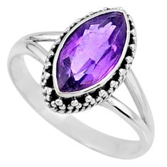 2.61cts natural purple amethyst 925 silver solitaire ring size 7.5 r57381