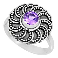 0.90cts natural purple amethyst 925 silver solitaire ring size 6.5 r57882