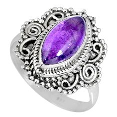 4.08cts natural purple amethyst 925 silver solitaire ring size 7.5 r58964