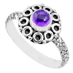 1.01cts natural purple amethyst 925 silver solitaire ring size 8.5 r64825