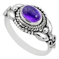 1.63cts natural purple amethyst 925 silver solitaire ring size 7.5 r64843
