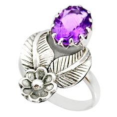 4.17cts natural purple amethyst 925 silver solitaire ring size 7.5 r67483