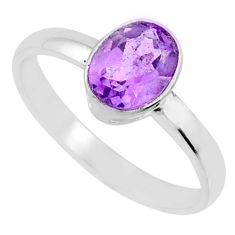 1.82cts natural purple amethyst 925 silver solitaire ring size 7.5 r70906