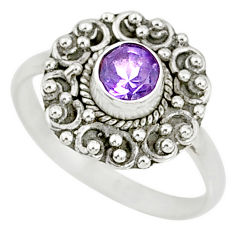 0.79cts natural purple amethyst 925 silver solitaire ring size 7.5 r76762