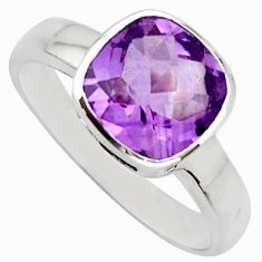 3.37cts natural purple amethyst 925 silver solitaire ring size 9 r25606