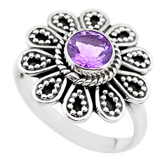 1.11cts natural purple amethyst 925 silver solitaire ring size 6.5 t19851