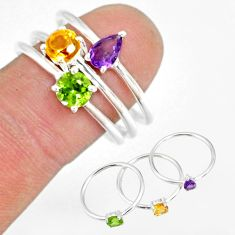 3.14cts natural purple amethyst 925 silver stackable ring size 8.5 r79881