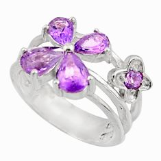 5.53cts natural purple amethyst 925 sterling silver ring jewelry size 7.5 d47482