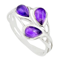 2.98cts natural purple amethyst 925 sterling silver ring jewelry size 7.5 r25301