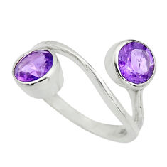 2.92cts natural purple amethyst 925 sterling silver ring jewelry size 6.5 r25425