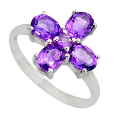 3.62cts natural purple amethyst 925 sterling silver ring jewelry size 5.5 r25541