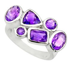 6.04cts natural purple amethyst 925 sterling silver ring jewelry size 6.5 r25902