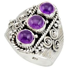 2.65cts natural purple amethyst 925 sterling silver ring jewelry size 7.5 r26825