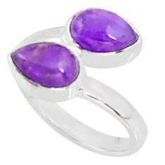 4.68cts natural purple amethyst 925 sterling silver ring jewelry size 7.5 r37963