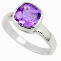 3.09cts natural purple amethyst 925 sterling silver ring jewelry size 7.5 r45699