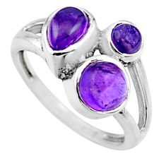 3.93cts natural purple amethyst 925 sterling silver ring jewelry size 7.5 r54503
