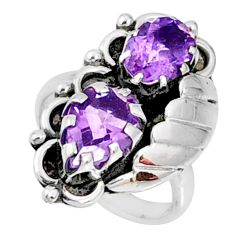 4.21cts natural purple amethyst 925 sterling silver ring jewelry size 5.5 r67322