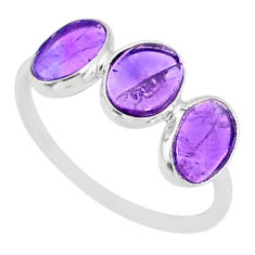 5.07cts natural purple amethyst 925 sterling silver ring jewelry size 7.5 r87963