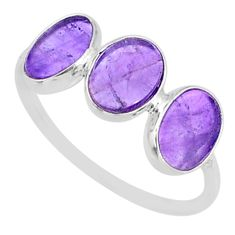 5.67cts natural purple amethyst 925 sterling silver ring jewelry size 8.5 r87964