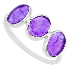 5.65cts natural purple amethyst 925 sterling silver ring jewelry size 7.5 r87965