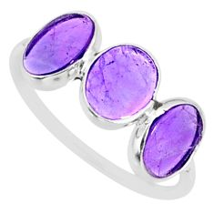 5.15cts natural purple amethyst 925 sterling silver ring jewelry size 7.5 r87967