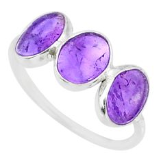6.20cts natural purple amethyst 925 sterling silver ring jewelry size 7.5 r87973