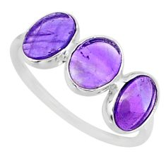 5.72cts natural purple amethyst 925 sterling silver ring jewelry size 7.5 r87978