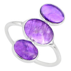 6.40cts natural purple amethyst 925 sterling silver ring jewelry size 8.5 r88109