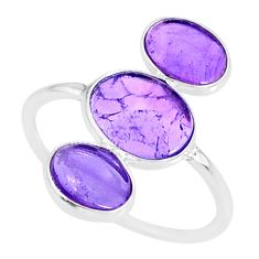 6.16cts natural purple amethyst 925 sterling silver ring jewelry size 8.5 r88113