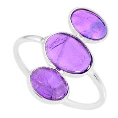 6.45cts natural purple amethyst 925 sterling silver ring jewelry size 7.5 r88118