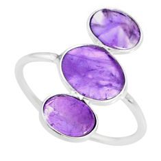 6.53cts natural purple amethyst 925 sterling silver ring jewelry size 9.5 r88120