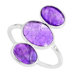 6.35cts natural purple amethyst 925 sterling silver ring jewelry size 7.5 r88151