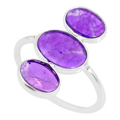 6.51cts natural purple amethyst 925 sterling silver ring jewelry size 7.5 r88152