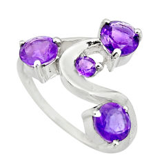 2.93cts natural purple amethyst 925 sterling silver ring jewelry size 6 r25401
