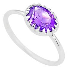1.86cts natural purple amethyst 925 sterling silver ring jewelry size 6 t8134