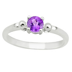 Natural purple amethyst 925 sterling silver ring jewelry size 7 c22283