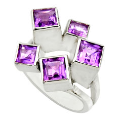 4.70cts natural purple amethyst 925 sterling silver ring jewelry size 7 r25682