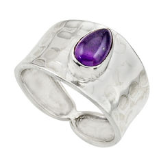 1.44cts natural purple amethyst 925 sterling silver ring jewelry size 7 r44309